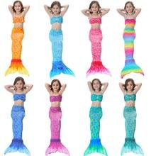 Dress Bikini Swimsuit Mermaid-Tail Cosplay Costume Girls Kids with Fin