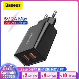 Baseus 5V 2A Max USB Charger EU Dual USB Ports Phone Charger Mini Fast Wall Charger Portable Travel Charger For Phone