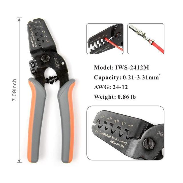 IWS-2412M IWS-2820M narzędzia do zaciskania na dżem Molex Tyco JST Terminal i złącze wielofunkcyjny szczypce do zdejmowania izolacji kabla szczypce do cięcia tanie tanio