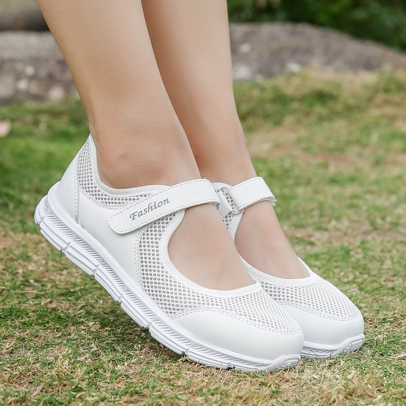NAUSK Summer Sandals Soft Soles Portable Sneakers Walking Shoes Flat Soles For Women Breathable Shoes For Elder Mothers 00766