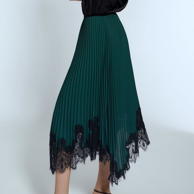 Women Long Skirt Autumn 2019 New Fashion Elastic Waist Black Lace Patchwork Green Chiffon Color Modern Lady Pleated Skirts