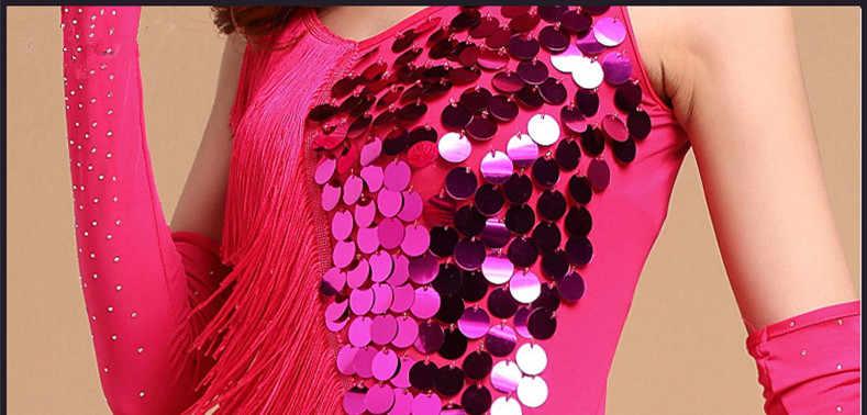 Latin jurken voor dansen vrouwen latin dans jurk lange mouw professionele kwastje dans kostuums voor pole dance kleding