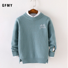 GFMY 2019 Autumn Winter Fashion O-Collar Embroidered Penguin Sweater For Boys Warm wool 5-14 year Coat Kids Sweaters