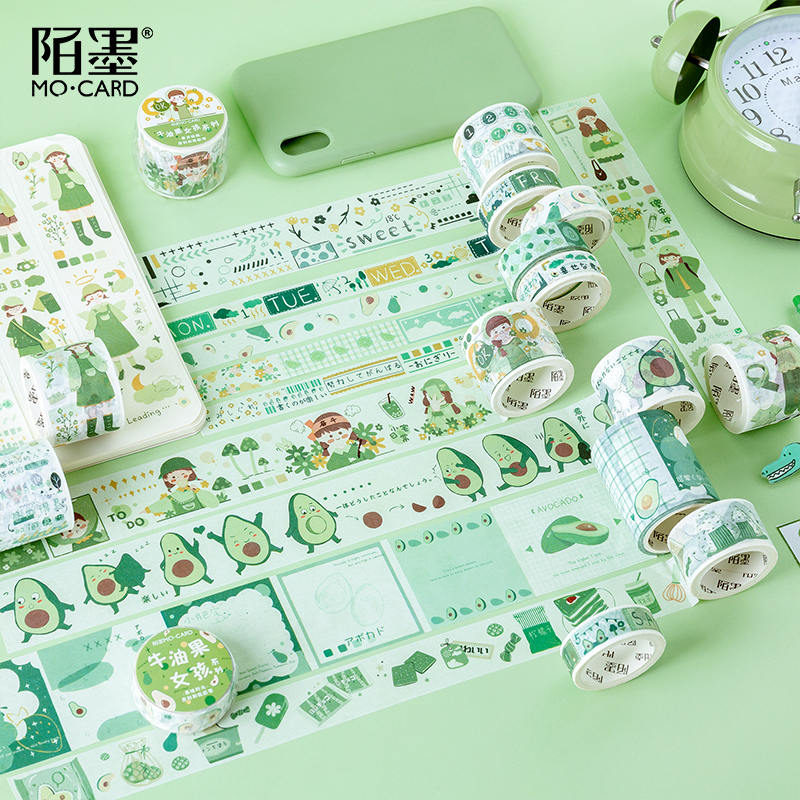 1pc Avocado Series Washi Tape Adhesive Tape DIY Scrapbooking Sticker Label Masking Tape Student Stationery