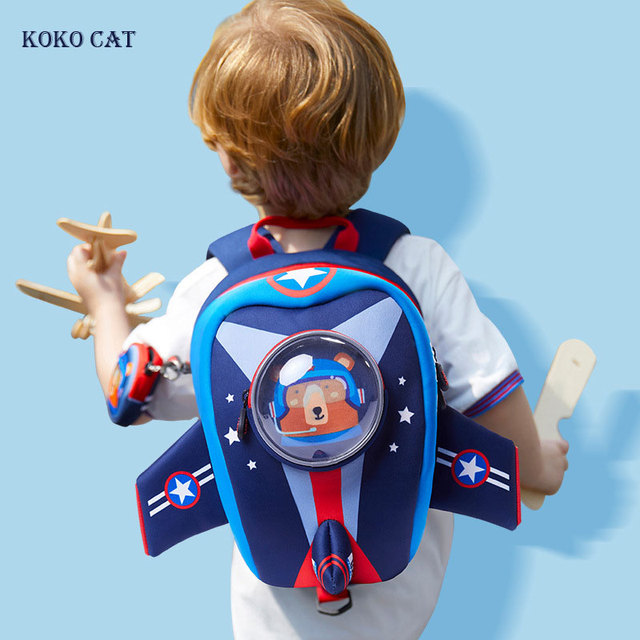 Anti lost Kids School Bags 3D Cartoon Shaped Airplane Design Backpack for Girls Boys Aircraft bags mochila infantil Escolares