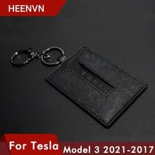 Heenvn Model3 2021 автомобильный кожаный держатель для ключей, защитный чехол для ключей Tesla Model 3, аксессуары, черный брелок для ключей, чехол, сумка, ...