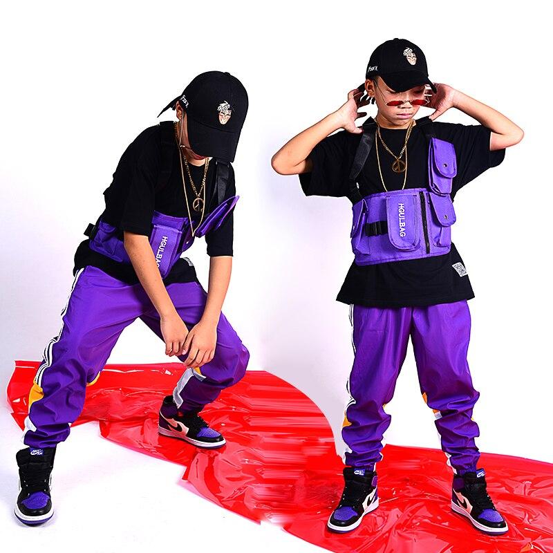Children'S Street Dance Costumes Multi-Pocket Straps Bag Hip-Hop Clothing For Boys Jazz Dance Wear Performance Clothing DQS2695