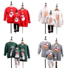 Семейные комплекты; Рождественские свитера с рисунком Санта-Клауса и лося; одежда для мамы и ребенка; зимние хлопковые рождественские наряды