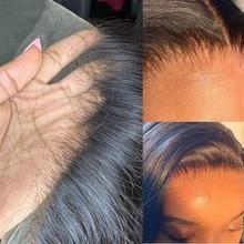 34 polegada hd laço frontal peruca reta longa transparente 13x6 perucas frontal do laço cabelo humano brasileiro preplucked com cabelo do bebê
