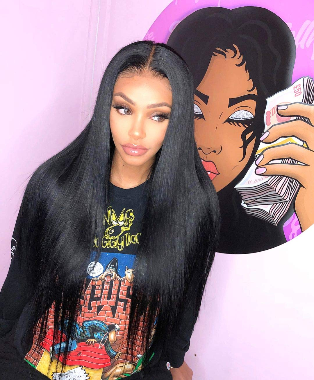 Eseewigs 260 Density Lace Front Wig Human Hair With Baby Hair Pre Plucked Remy Brazilian Straight Lace Wigs For Black Women 13x4