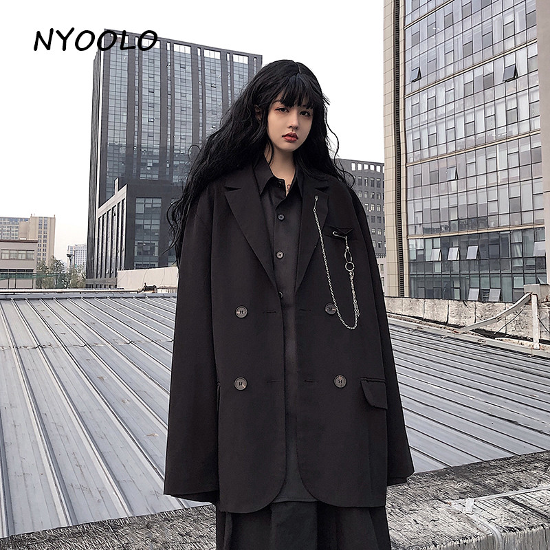 NYOOLO High Street Pockets Chain Turndown Collar Black Blazer Casual Loose Long Sleeve Double Breasted Coats Women Men Outerwear