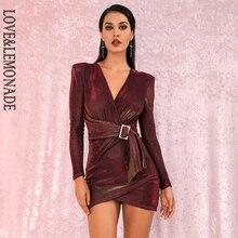 LIEBE & LIMONADE Sexy Crimson V ausschnitt Shoulderpad Metall Schnalle Bodycon Party Reflektierende Mini Kleid LM81989 1