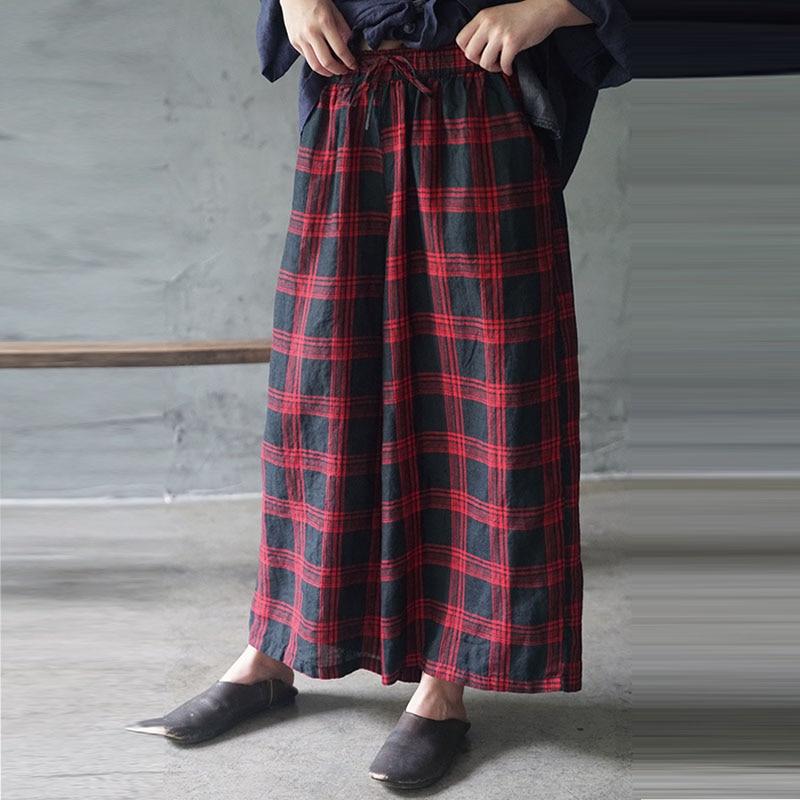 Women Plaid Cotton Linen Elastic Mid Waist Straight Pants 2019 Autumn New Casual All-match 2 Color Women Leng Psants