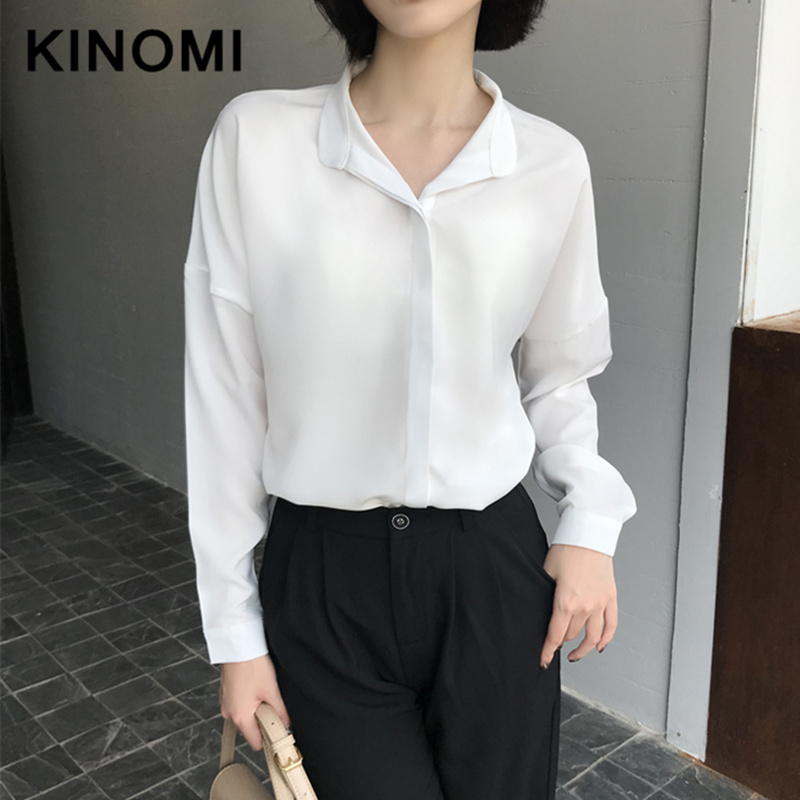 KINOMI Autumn Long Sleeve 2019 New Casual Loose Blouse Female Casual Turn-down Collar OL Style Women Loose Blouses