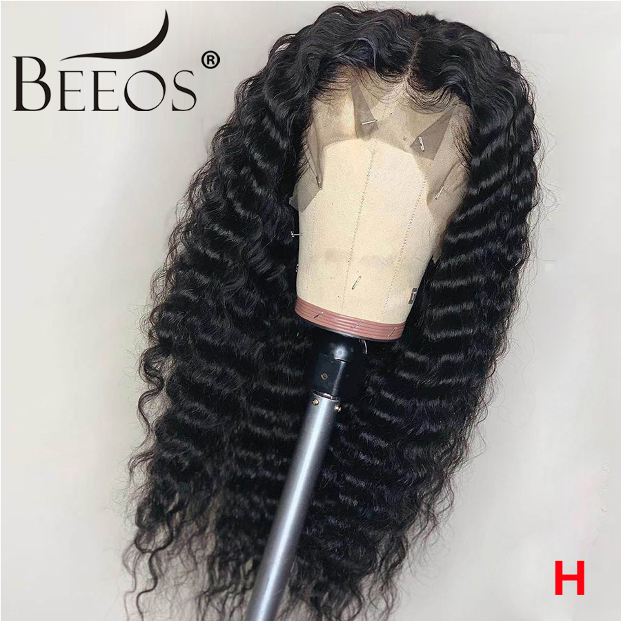 Beeos Pre Plucked Brazilian Remy Deep Wave 360 Lace Frontal Human Hair Wig 8-26 Inch Glueless Lace Wigs Natural For Black Women