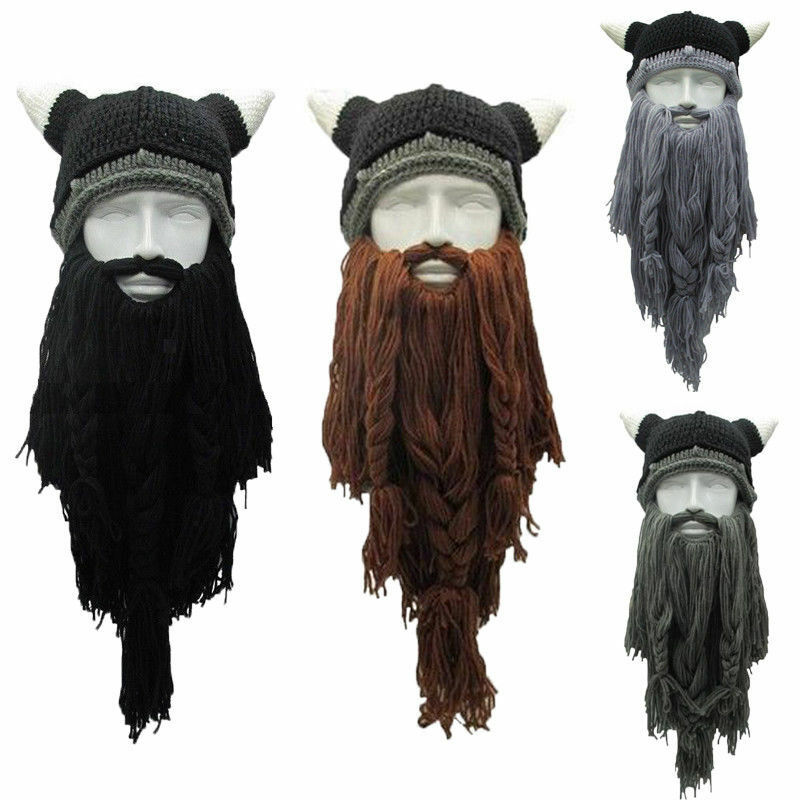 Funny Crazy Halloween Cosplay Men Knit Viking Beard Horn Hat Ski Mask Cap Barbarian Vagabond Cool Beanie Winter Warm Unisex Hats