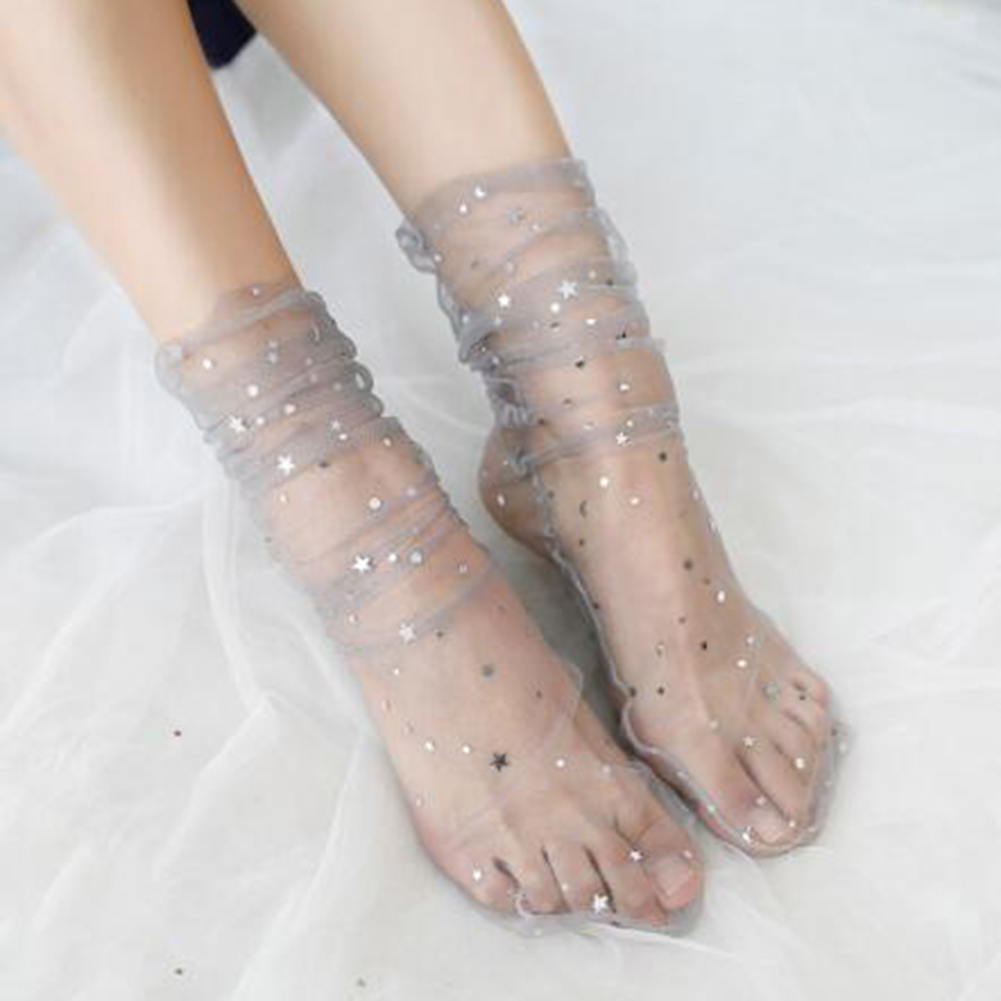 Summer Sexy Retro Lace Floral Mesh Women Girl Socks Woman Hope Socks Moon Stars Five-pointed Star Lace Short Socks For Women