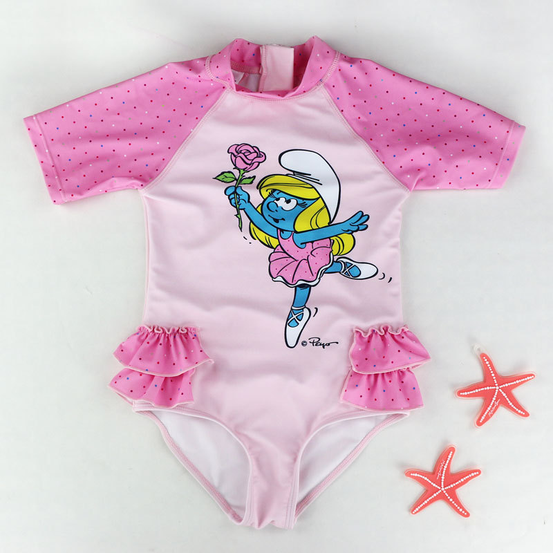 Foreign Trade New Products Children One-piece Surfing Bathing Suit Girls Cartoon Baby Swimsuit Beach Hot Springs Short Sleeve Sw