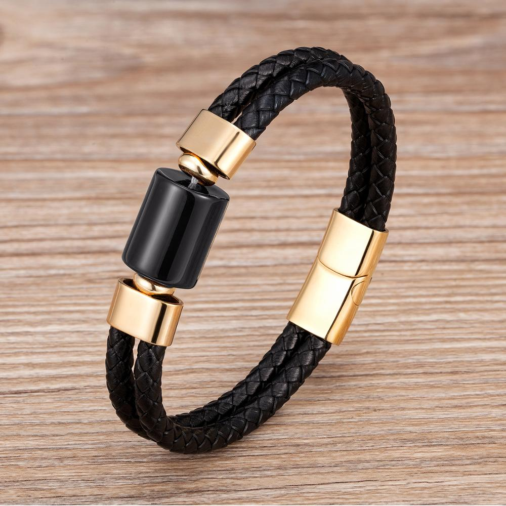 2020 Natural Round Stone Bracelet For Men Genuine Leather Charm Bracelets Stainless Steel Jewelry Mens Stone Beads Pulseras Gift