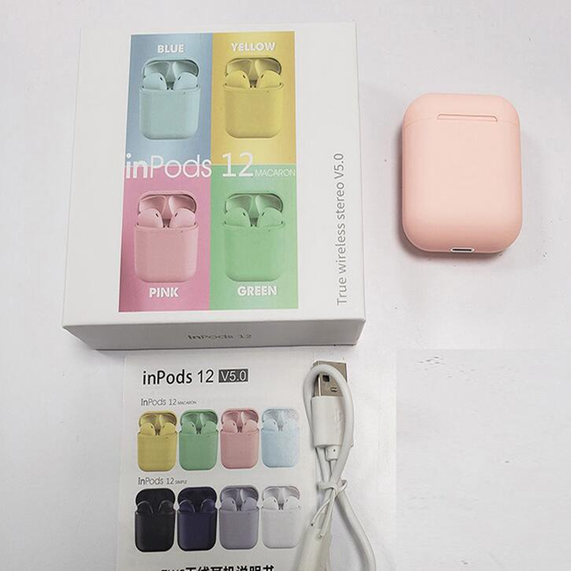 New year gift macarons inpods12 wireless bluetooth headset i12 three generations pro sports new intelligent bilateral stereo
