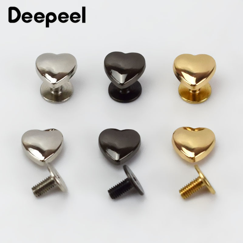 20/50pcs 1x1cm Heart Rivet For Bags Hardware Handbag Decorative Studs Button Nail Rivet Metal Buckles Snap Hook Leather Craft