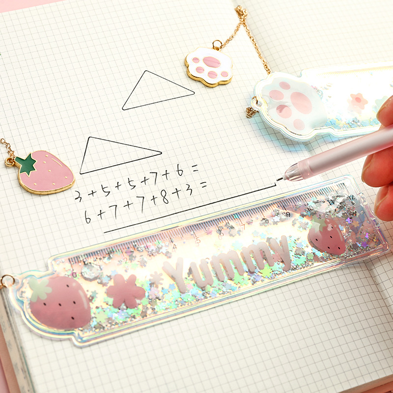 School Rulers Cartoon Kwaii Rulers Oil Sanding Ruler PVC Drawing Ruler Cat Claw Strawberry Shape Creative Gift Kawaii Stationery