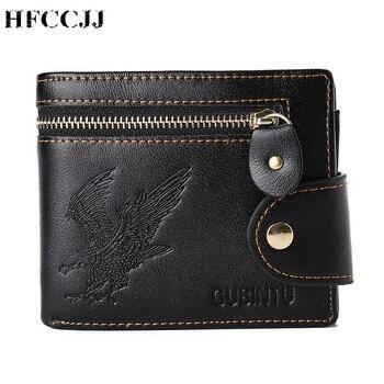 цена на NEW Casual Men's Wallets Leather Zipper Luxury Wallet Men Leather Slim Bifold Short Purses Credit Card Holder Male Purse HC206