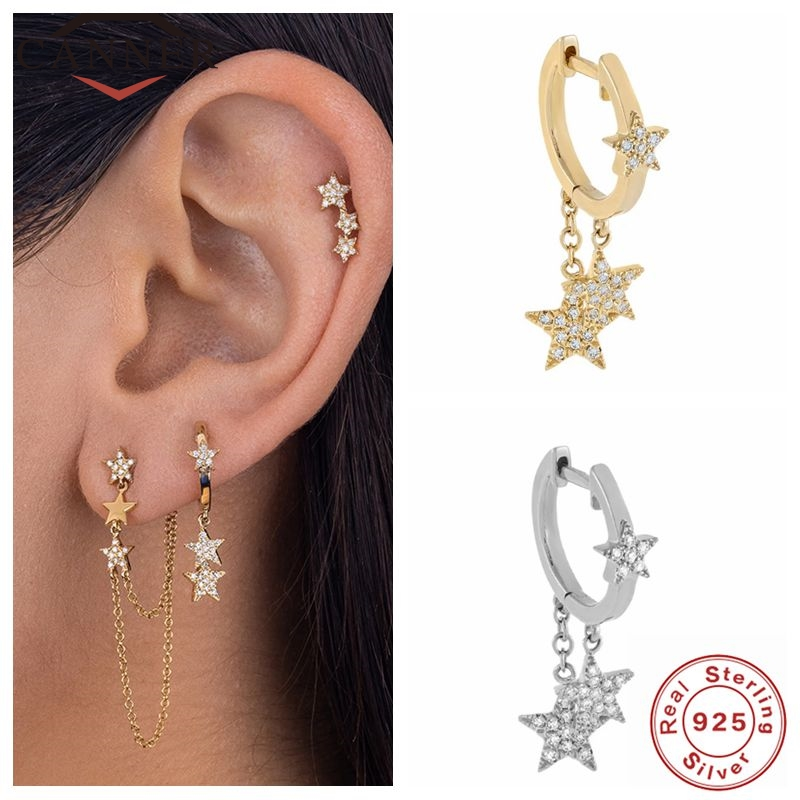 CANNER Fashion Luxury Real 925 Sterling Silver Hoop Earrings For Women Crystal Zircon Earings Jewelry pendientes Minimalist Gift