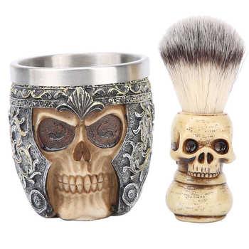 Męskie golenie po goleniu męskie golenie brody zestaw ze stali nierdzewnej miska do golenia głowa szkieletu szczotka do brody zestaw po goleniu krem tanie i dobre opinie TMISHION Mężczyzna CN (pochodzenie) Beard Shaving Set