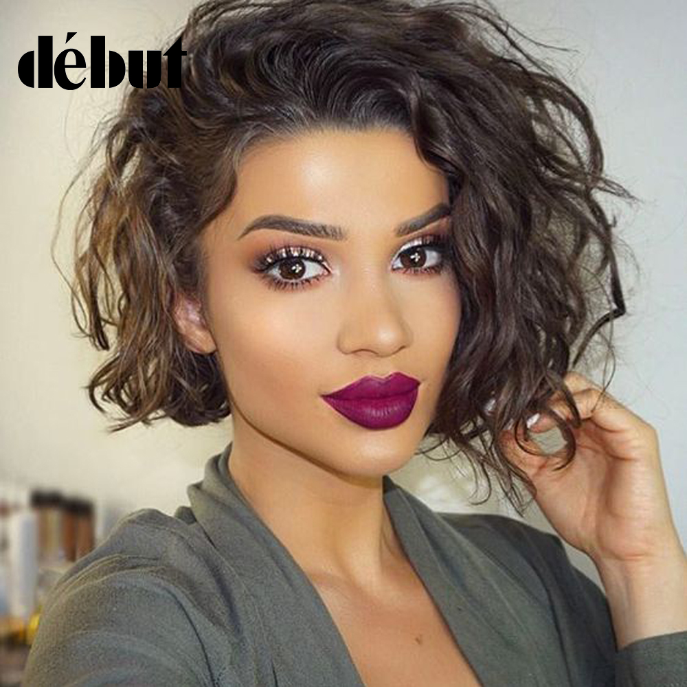 Debut Hair Wigs For Black Women Brazilian Remy Water Wave Lace Part Human Hair Wigs Omber Short Part Lace Wigs Free Shipp