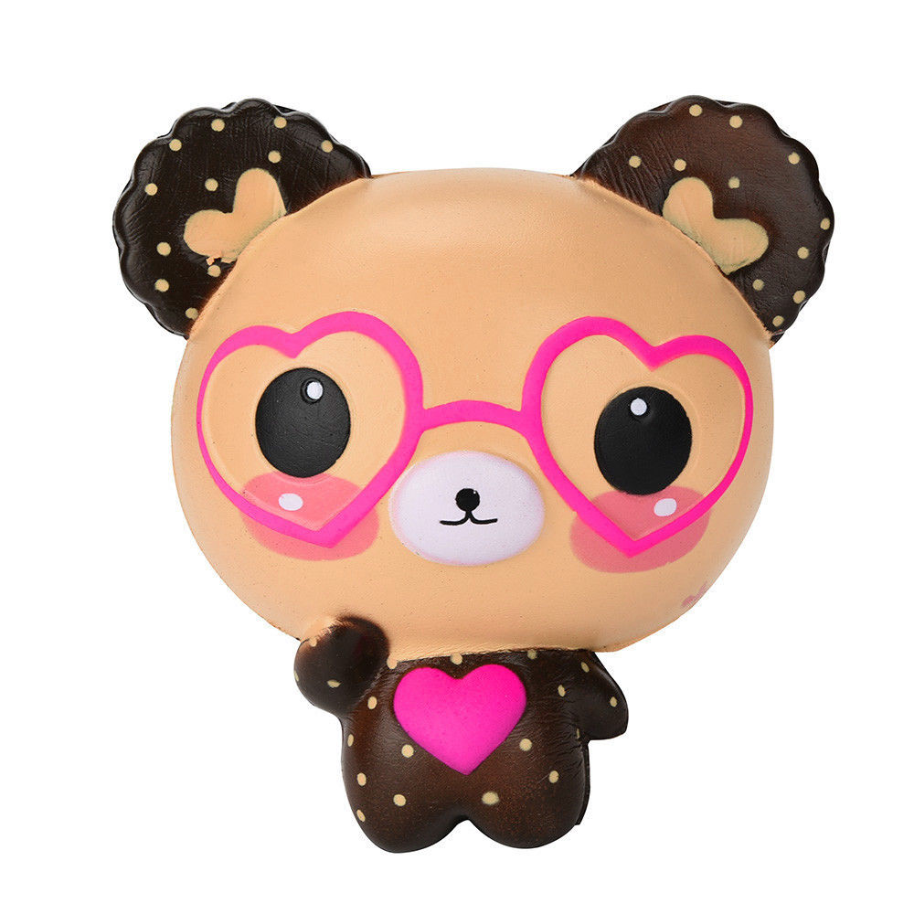 Jumbo Kawaii Squishy Love Cute Glasses Bear Scented Squishy Charm Super Slow Rising Squeeze Toys Stress Reliever Toy