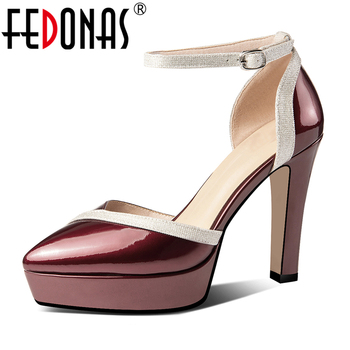 FEDONAS Euro Style Spring Summer Women Cow Patent Leather Mixed Color Pumps Pointed Toe 11cm Thick Heel Ankle Strap Shoes Woman