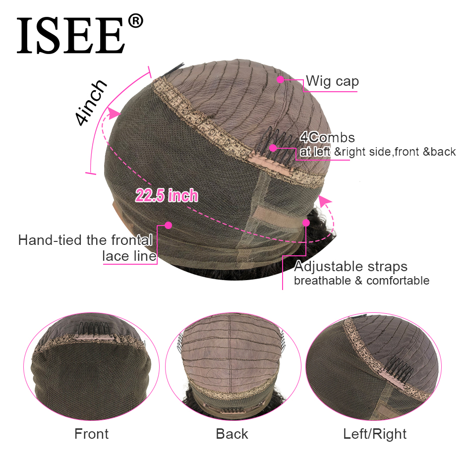 Image 5 - ISEE HAIR 360 Lace Frontal Wig 150% Density Straight Lace Frontal Human Hair Wigs Remy Brazilian Human Hair Wigs For Black Women-in Human Hair Lace Wigs from Hair Extensions & Wigs