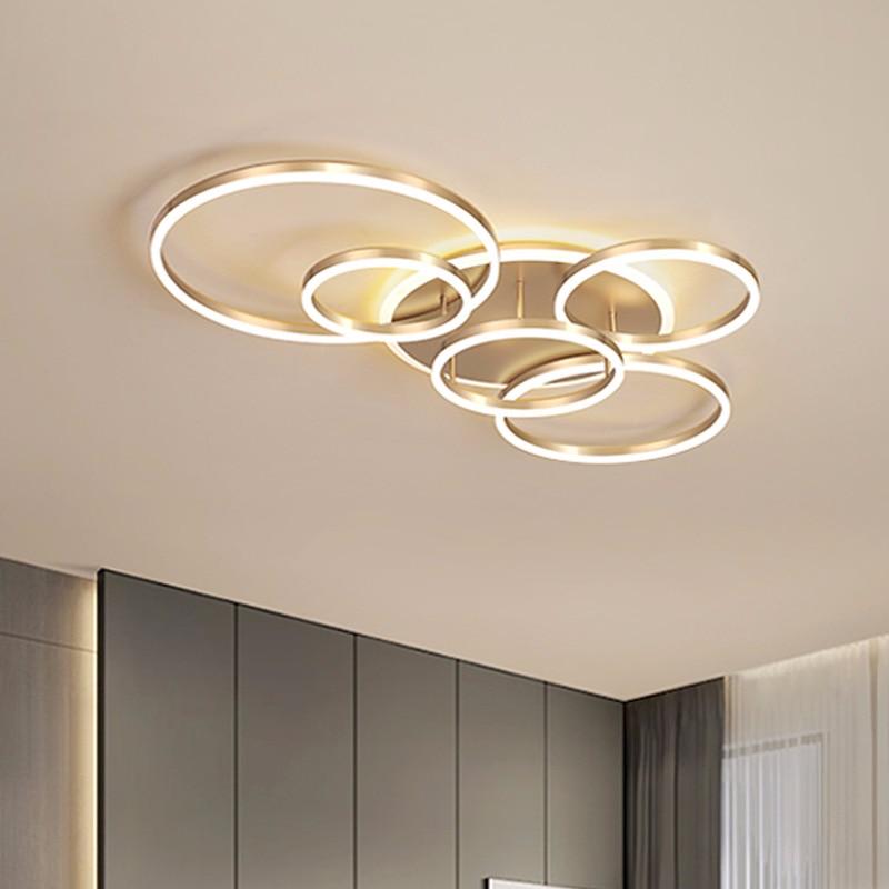 Luces de techo modernas para sala de estar círculo marrón dorado LED Plafon decoración lámparas de dormitorio con Lustre de Control remoto