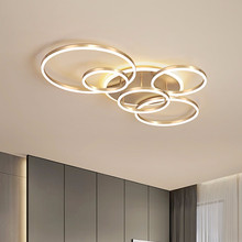 Nowoczesne lampy sufitowe do salonu koło złoty brąz LED Plafon Decor lampy do sypialni oprawa z pilotem Lustre