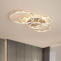 Modern Ceiling Lights For Living Room Circle Gold Brown LED Plafon Decor Bedroom Lamps Fixture With Remote Control Lustre