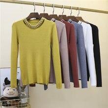 Осенне зимний вязаный пуловер с длинными рукавами ажурный свитер