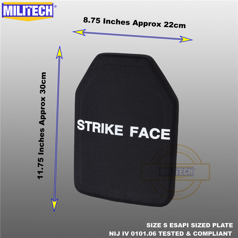 ESAPI Bulletproof Plate Ballistic Panel NIJ Level 4 IV Alumina & PE Stand Alone Two PCS From Size S To XL Body Armor--Militech