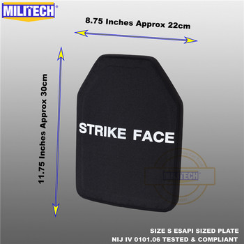 ESAPI placa a prueba de balas Panel balístico NIJ Nivel 4 IV alúmina y PE Stand Alone dos Uds de la talla S a XL Body Armor -- Militech