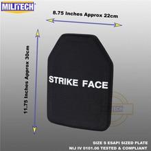 ESAPI plaque balistique NIJ level 4 IV, support en alumine et PE, deux pièces, de tailles S à XL, armure corporelle Militech