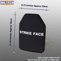 ESAPI plaque pare balles panneau balistique NIJ niveau 4 IV alumine et PE autonome deux pièces de la taille S à XL armure corporelle Militech|Accessoires d'auto-défense| |  -