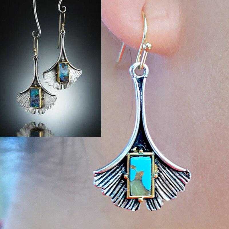 Vintage Simple Big Metal Leaf Earrings Ethnic Silver Color Ginkgo Biloba Earrings for Women Punk Bohemian Jewelry Plant O3D265