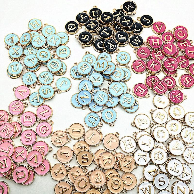 Nuovo 12*14mm A-Z lettera Charms smalto Charms alfabeto lettera iniziale ciondolo fatto a mano per gioielli fai da te braccialetto fare all'ingrosso 2