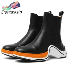 DORATASIA New Brand Designer Booties Ladies Casual slip-on Genuine Leather Ankle Boots Women Platform Shoes Woman women s genuine leather platform flats ankle boots brand designer comfortable winter cold weather short booties shoes for women