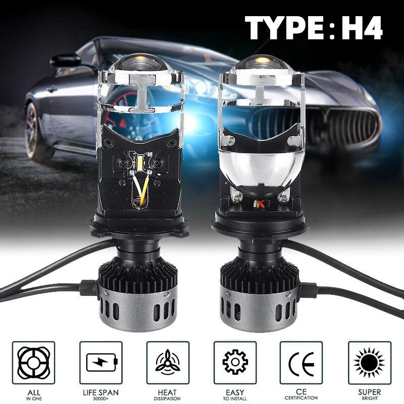 1 paire Mini lentille bi-projecteur LED H4 9003 Mini Bi projecteur LED phares lentille plein métal Hi/Lo lumière 60W 5500K voiture moto
