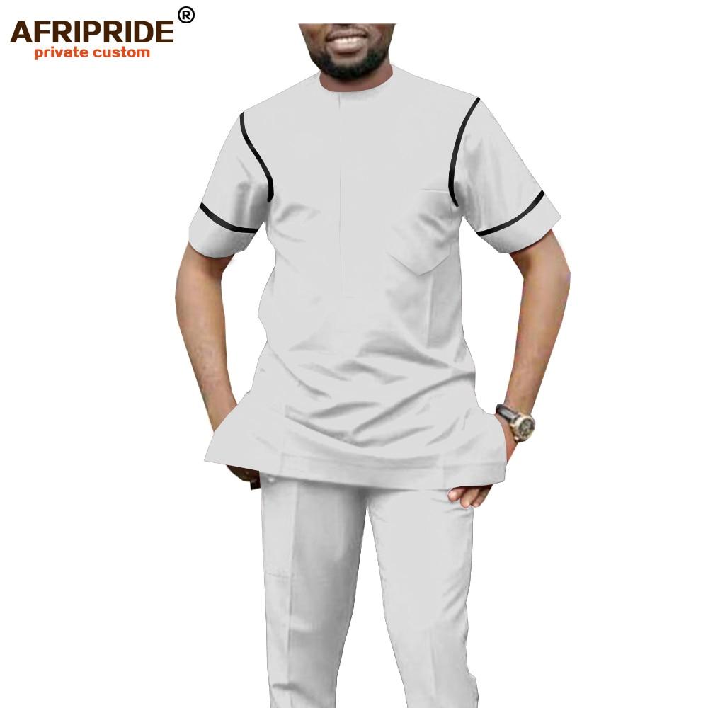 Dashiki Men African Clothing Set Dashiki Tops Blouse Pants 2 Piece Sport Suit Short Sleeve Tribal Wear AFRIPRIDE A1916071