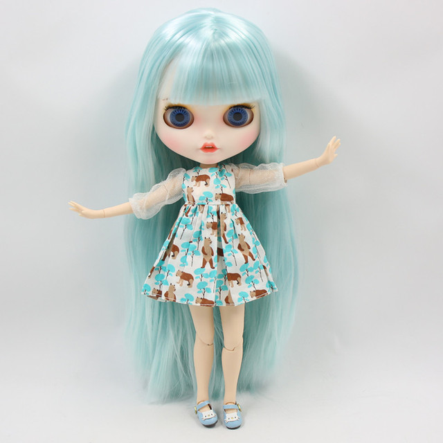 Blyth nude doll Carved lips Pouting mouth Matte customized face Blue hair hair 1/6 Joint body ICY bjd DIY toy girl gift