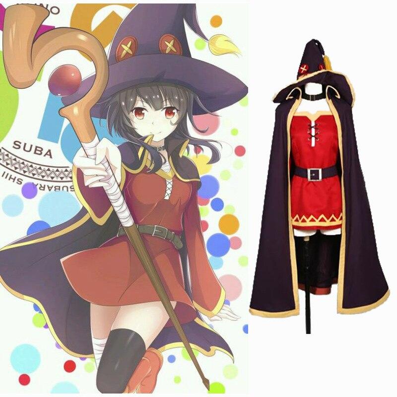 Anime KonoSuba God's Blessing on this Wonderful World Megumin Cloak Dress Uniform Outfit Anime Cosplay Costume for Mens Womens
