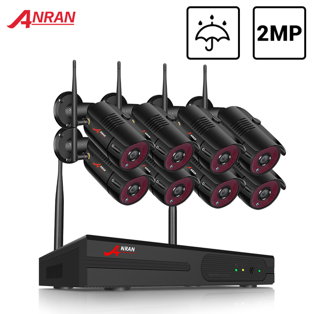 ANRAN 2MP CCTV אלחוטי NVR מעקב מערכת ערכת 8CH Wifi אבטחה וידאו חיצוני אבטחת מעקב וידאו מערכת ערכת IP66