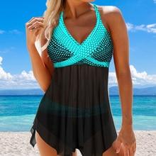 Women Summer Tankini Set Swimsuit Women Summer Stripe Print Backless Two Pieces Swimsuit Beachwear Bathing Suit Plus Size S-8XL